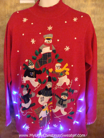 Red Light Up Ugly Xmas Sweater with Snowman Pyramid