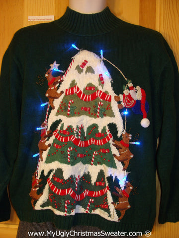 Tacky Xmas Sweater with Lights Santa Reindeer Climbing (g140)