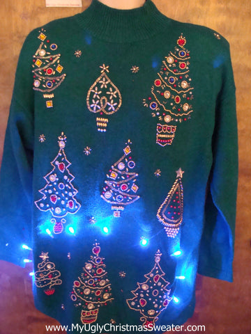 Green 80s Bling Trees Light Up Ugly Xmas Sweater