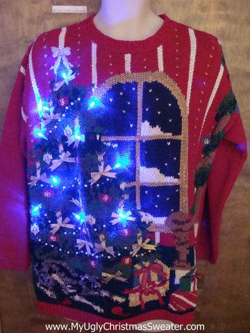 Horrible Huge Tree Light Up Ugly Xmas Sweater
