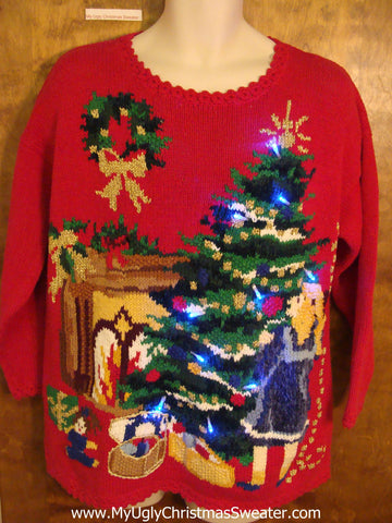 Amazing Red Light Up Ugly Xmas Sweater Girl Decorating Tree