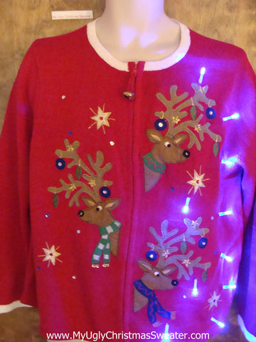 Peaking Reindeer Light Up Ugly Xmas Sweater