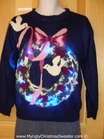 Tacky Xmas Sweater with Lights White Doves and Wreath (g141)