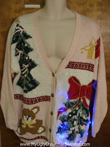 Tacky 80s Light Up Ugly Xmas Sweater with Tree