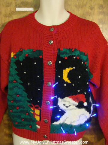 Crazy Cat Lady Light Up Ugly Xmas Sweater