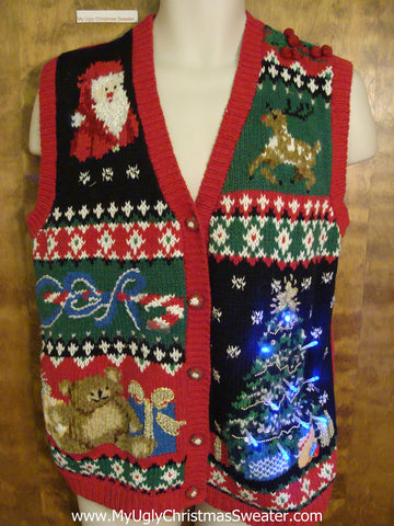 Buzy and Tacky Light Up Ugly Xmas Sweater Vest