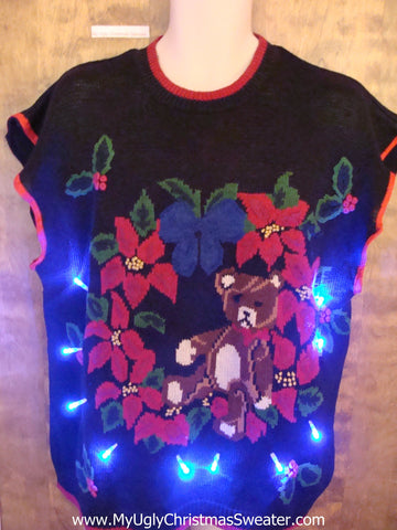 Teddy Bear and Poinsettias Light Up Ugly Xmas Sweater Vest