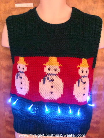 Best 80s Snowmen Light Up Ugly Xmas Sweater Vest
