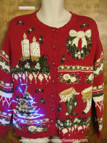 Horrible Red Light Up Ugly Xmas Sweater