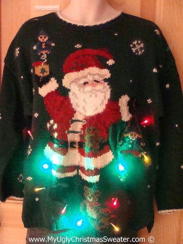 Tacky Green Xmas Sweater with Lights Santa and Toys (g142)