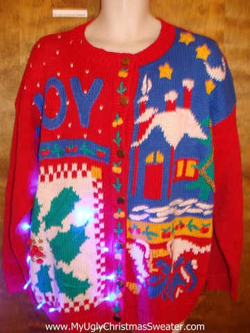 Cheesy 80s Colorful Light Up Ugly Xmas Sweater
