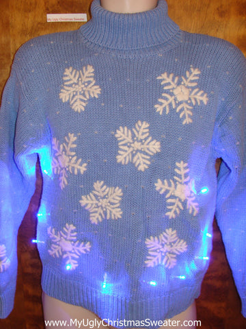 Huge Snowflakes Light Up Ugly Xmas Sweater