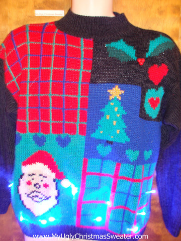 Scary Santa Light Up Ugly Xmas Sweater