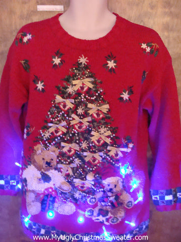 Teddy Bear Fun Light Up Ugly Xmas Sweater