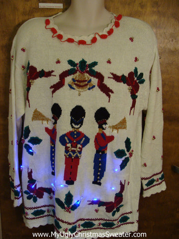 80s Nutcracker Light Up Ugly Xmas Sweater