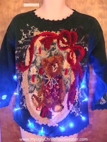 Tacky Confused Bear Light Up Ugly Xmas Sweater