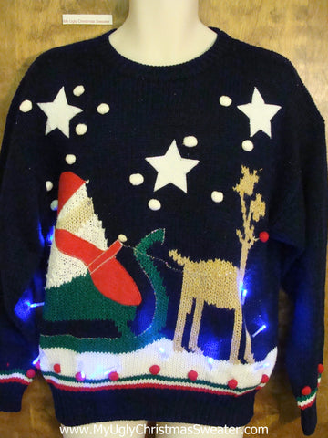 Best Santa and Reindeer Light Up Ugly Xmas Sweater