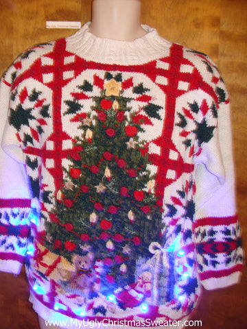 Horrible Tacky Light Up Ugly Xmas Sweater with Tree