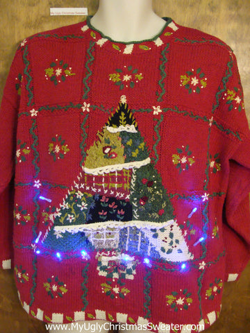 Patchwork Tree 80s Light Up Ugly Xmas Sweater