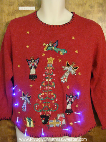 Flying Angels Light Up Ugly Xmas Sweater