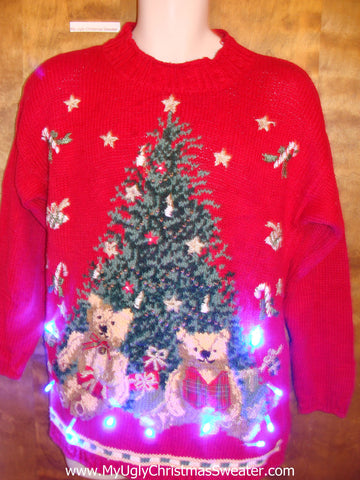 Novelty Teddy Bears Light Up Ugly Xmas Sweater