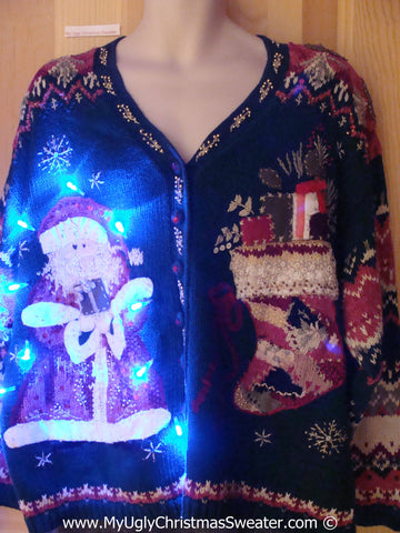 Tacky 80s Xmas Sweater with Lights Santa and Stocking (g144)