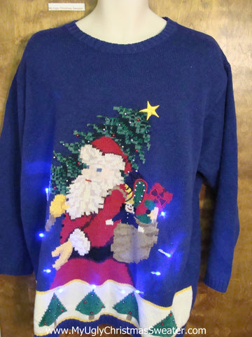 Santa Carrying Tree Blue Light Up Ugly Xmas Sweater