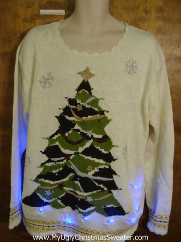 Horrible Green Tree Light Up Ugly Xmas Sweater