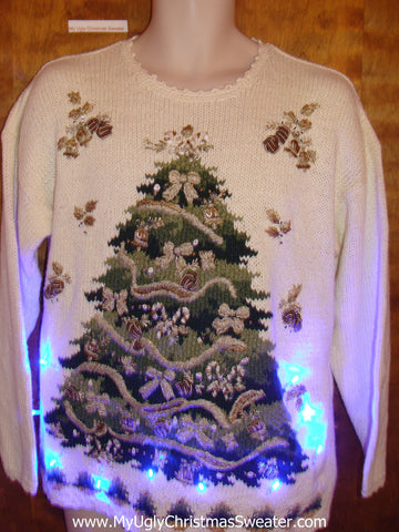Ivory Pullover with Green Tree Light Up Ugly Xmas Sweater