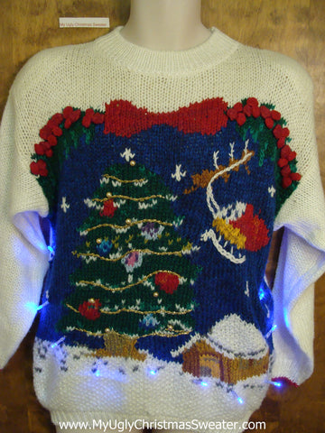 Flying Reindeer 80s Light Up Ugly Xmas Sweater