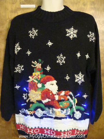 Santa on a Motorcycle Best 80s Light Up Ugly Xmas Sweater