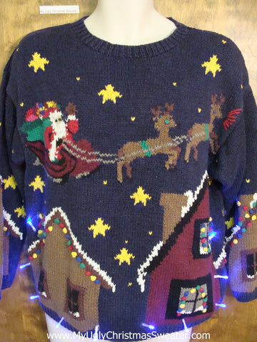 Santa and Flying Reindeer 2sided Light Up Ugly Xmas Sweater