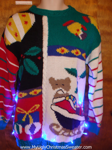 Bold and Not So Beautiful 80s Light Up Ugly Xmas Sweater