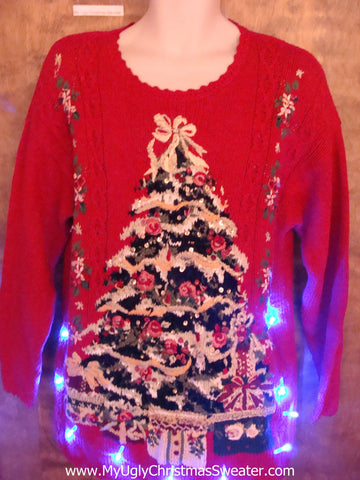Red Light Up Ugly Xmas Sweater with Huge Festive Tree