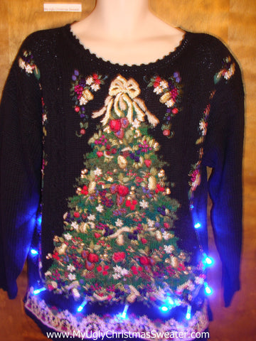 80s Huge Tree Light Up Ugly Xmas Sweater