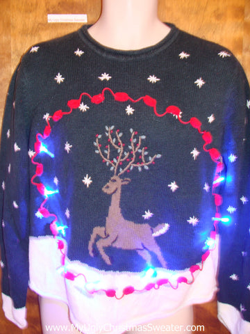 Prancing Reindeer 2sided Light Up Ugly Xmas Sweater