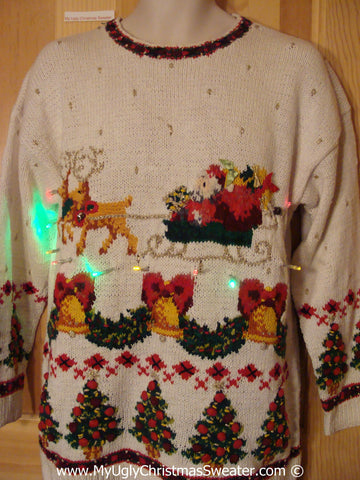 Tacky Xmas Sweater with Lights 80s Santa and Reindeer (g146)