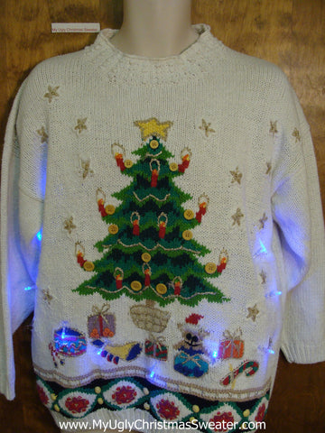 Tree with Candles Light Up Ugly Xmas Sweater