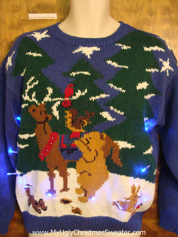 Reindeer and Forest Friends Light Up Ugly Xmas Sweater
