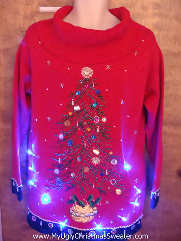 Bling Festive Tree Light Up Ugly Xmas Sweater