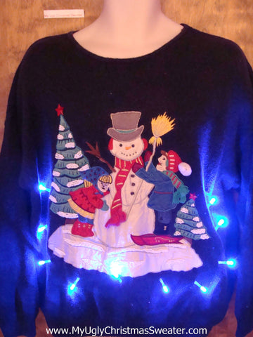 Ski Man and SnowmanLight Up Ugly Xmas Sweater