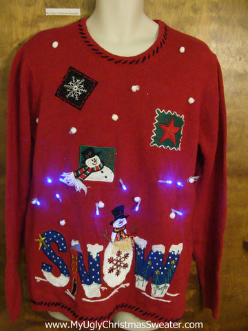 SNOW Themed Light Up Ugly Xmas Sweater