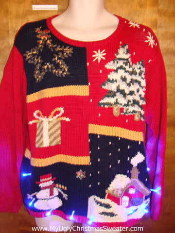 Red and Black Light Up Ugly Xmas Sweater