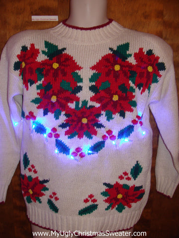 Best Tacky Poinsettias 80s Light Up Ugly Xmas Sweater