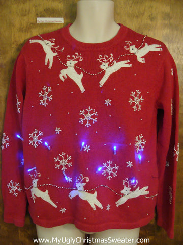 Flying Reindeer Light Up Ugly Xmas Sweater
