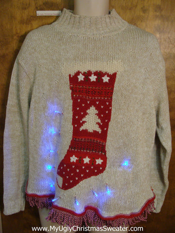 Nordic Stocking Light Up Ugly Xmas Sweater