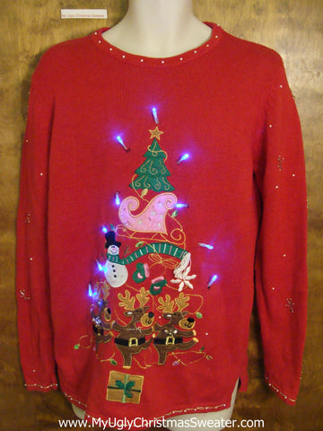 Riendeer Friends Pyramid Tree Light Up Ugly Xmas Sweater