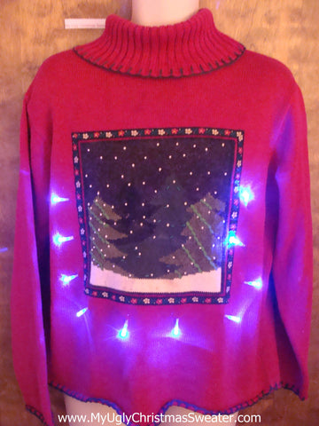 Snowy Night Light Up Ugly Xmas Sweater