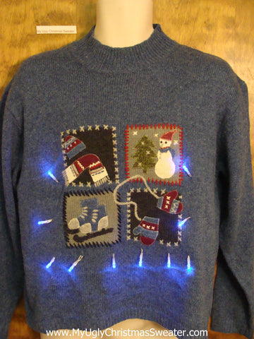 Ice Skates and Mittens Light Up Ugly Xmas Sweater