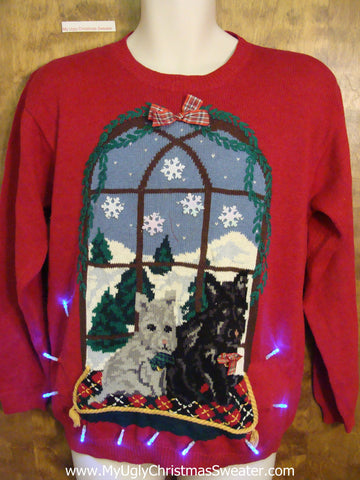 Two Dogs 80s Light Up Ugly Xmas Sweater